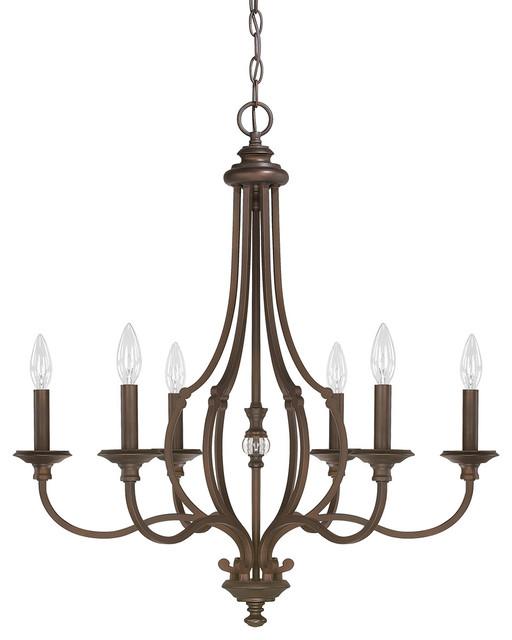 Capital Lighting 4706BB-000 Leigh 6-Light Chandelier, Burnished Bronze