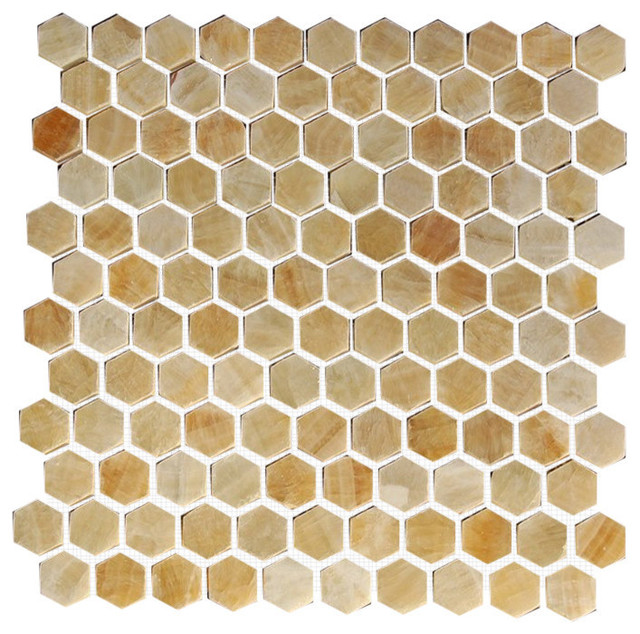 "Hexagon Interlocking Polished Tile, Yellow Onyx, 10 Sq. ft., 12""x12"""