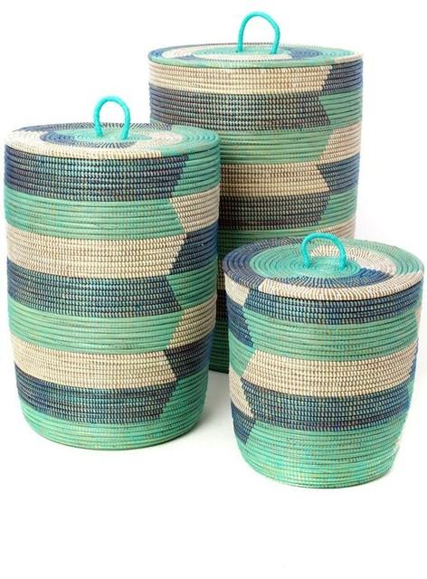 3-Piece Blue Sahara Hamper Baskets.