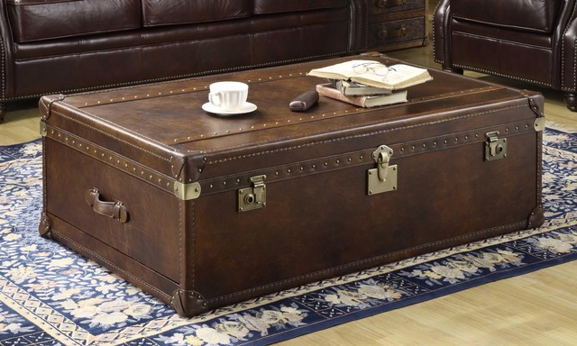 Thornton Lift Top Leather Steamer Trunk w/ Storage In Toblerone Leather - Traditional ...