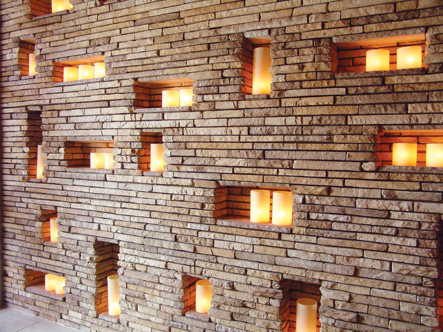 Modern side tables and accent tables jpg - Stone Candle Wall Coronado Strip Stone Veneer