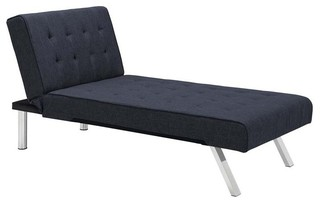 Dhp emily faux leather chaise lounge white contemporary for Blue leather chaise lounge