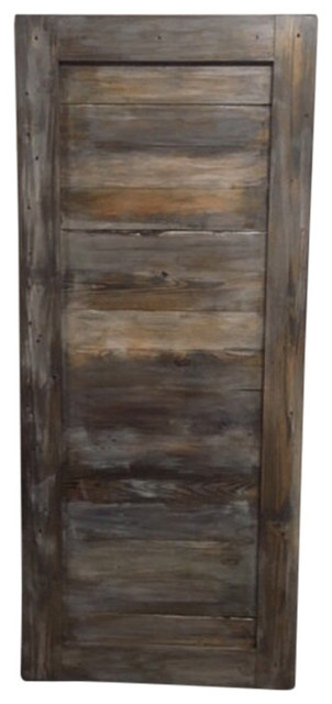 Shop houzz rustic luxe boutique horizontal plank sliding for Rustic sliding barn doors interior
