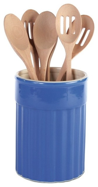 Omniware Simsbury Blue Ceramic Kitchen Utensil Crock