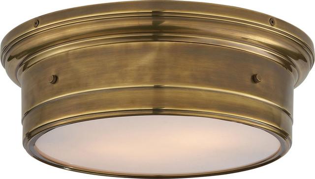 Studio Siena 2-Light Flush Mounts, Hand-Rubbed Antique Brass.