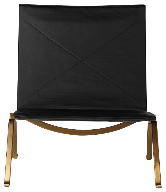 PK22 Style Easy Chair, Black Leather and Gold