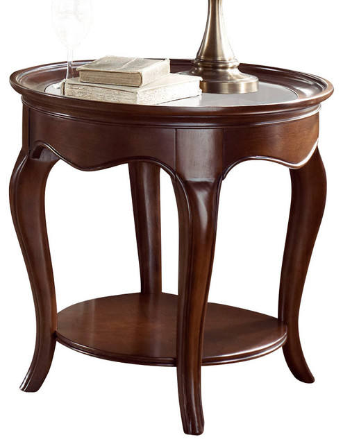 American Drew Cherry Grove Ng Oval Glass End Table In