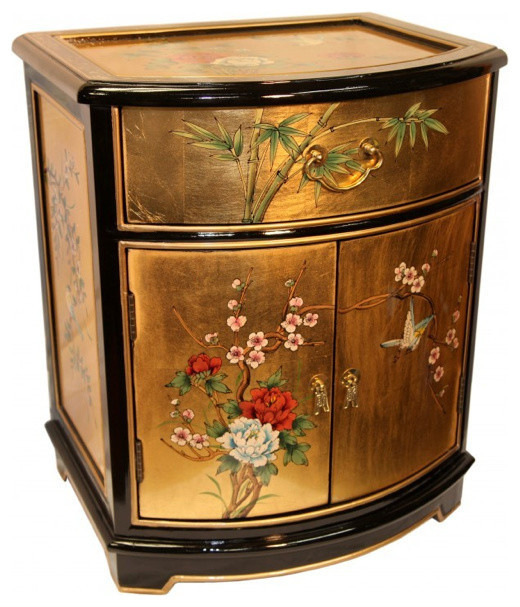 Oriental End Table Painted Bird And Flower Gold Leaf. Asian Side Tables