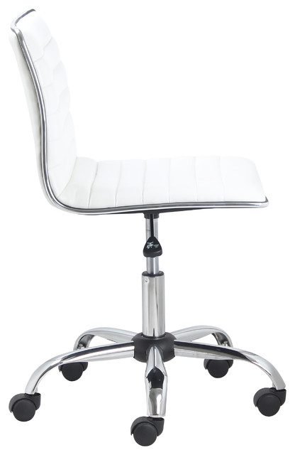 Swivel Mid Back Armless Ribbed Task Leather Chair White Upholstery And Chrome