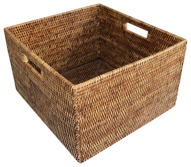 Rattan Basket Square Open With Cutout Handle Tropical