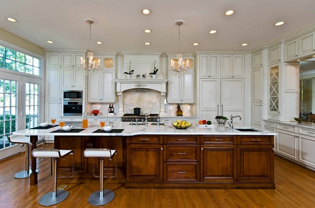 traditional elegant kitchen uses exotic stone leaded