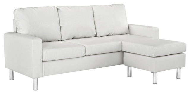 Modern Bonded Leather Sectional Sofa, Small Space Configurable Couch, White