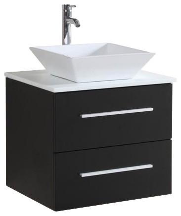"""Bathroom Vanity Sets floating single-sink vanity set, espresso, 24"""" - contemporary"""