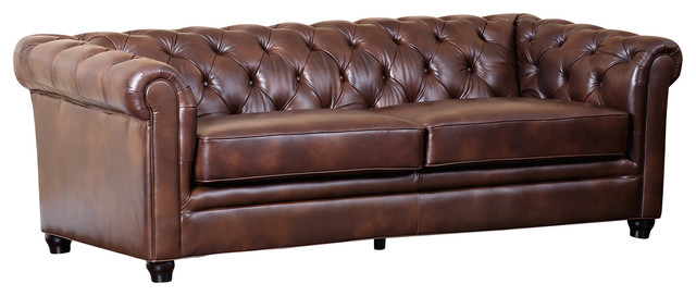 Tuscan Tufted Leather Sofa, Brown.