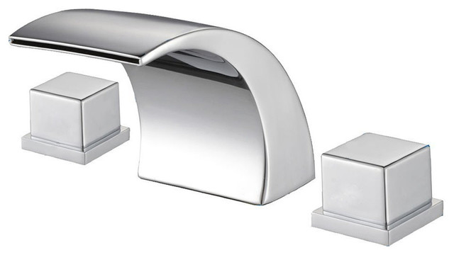 Olcott Waterfall Sink Faucet, Chrome - Contemporary - Bathroom Sink ...