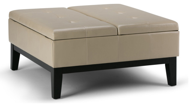 Ordinaire Dover Square Coffee Table Ottoman With Split Lift Up Lid, Satin Cream