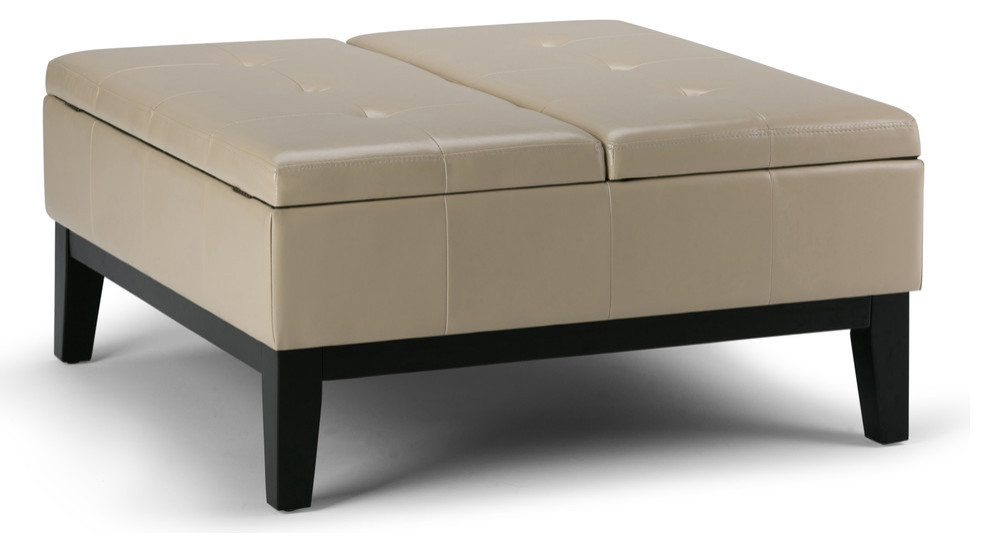 Dover Square Coffee Table Ottoman With Split Lift Up Lid Satin Cream