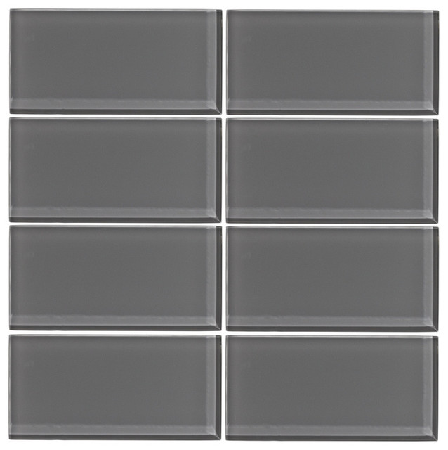 Taupe Gray Glass Subway Tile Sample modern-mosaic-tile