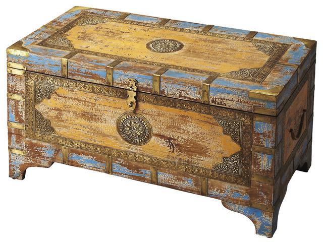 Butler Nador Painted Brass Inlay Storage Trunk