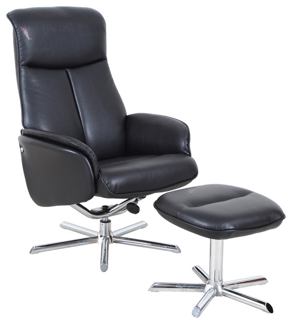 Pu Leather Lounge Chair With Ottoman.