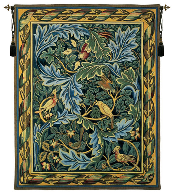"Les Oiseaux De William Morris French Wall Tapestry, 46""x35""."