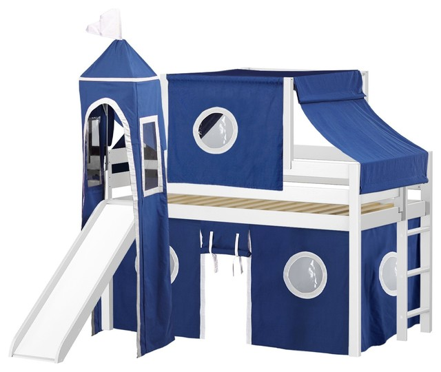 Jackpot Castle Low Loft Bed, White With Slide, Blue And White Tent And Tower.
