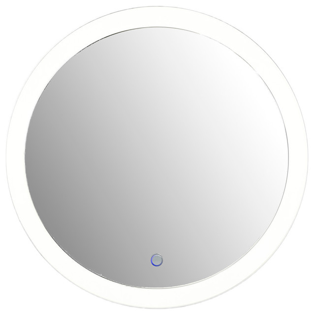 Round 22 LED Lighted Wall Mount Vanity Bathroom Mirror Sol With Defogger Contemporary