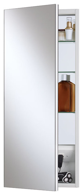 "Meridian 15""x35"" Polished Edge Medicine Cabinet, Recess Mount."