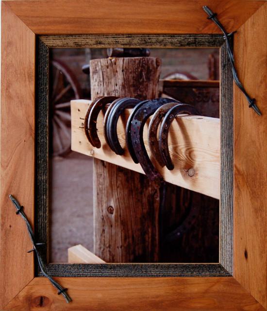 Western Decor Frames: Western Frames- Wood Frame With Barbed Wire Sagebrush