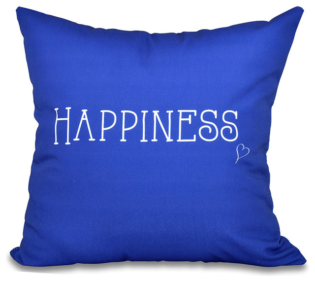 E by Design - Happiness, Word Print Pillow, Blue - View in Your Room! Houzz
