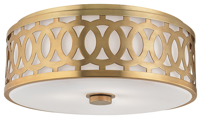 Genesee 3-Light Flush Mount, Aged Brass.