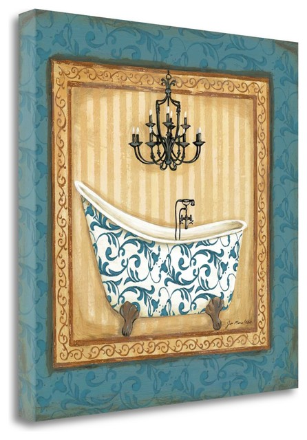 """Blue Slipper Bath I"" By Jo Moulton, Giclee Print On Gallery Wrap Canvas"