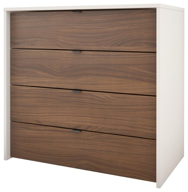 Palencia 4-Drawer Chest, White And Walnut.