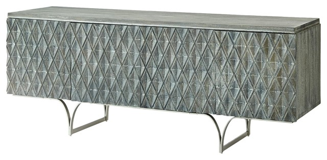 Exceptionnel Carved Wood Diamond Harlequin Media Cabinet, Silver Gray Argyle Pattern  Modern