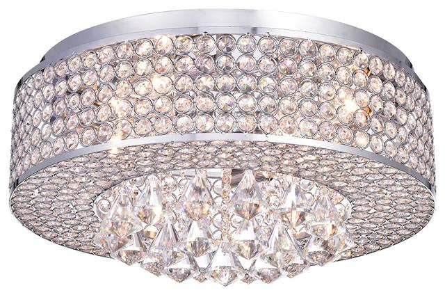 Corona Drum Crystal Shade 4 Light Flush Mount Chandelier Ceiling Fixture, Chrome.