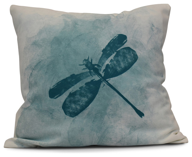 "Dragonfly Summer, Animal Print Pillow, Teal, 18""x18""."