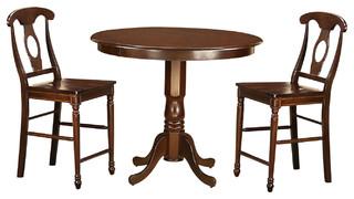 Trenton 3-Piece Solid Wood Dining Set, Mahogany