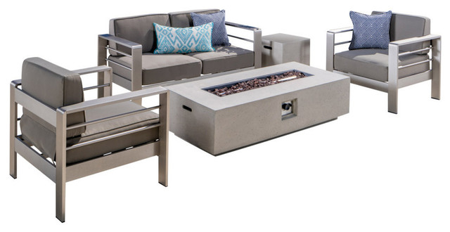 GDF Studio 5-Piece Coral Bay Outdoor Khaki Chat Set and Fire Table, Set, White