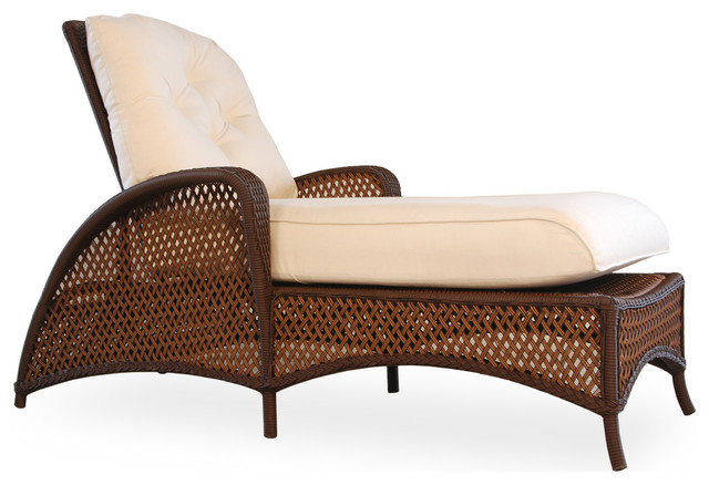 Grand Traverse Chaise, Bisque With Chronicle Mediterranean Fabric