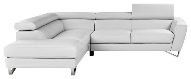 Fantastic Jm Sparta Full White Italian Leather Sectional Sofa With Adjustable Headrests Andrewgaddart Wooden Chair Designs For Living Room Andrewgaddartcom