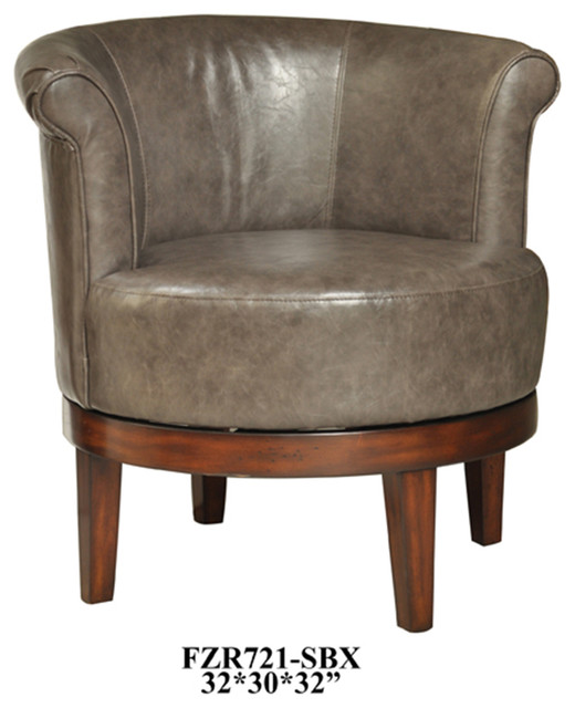 Crestview camden grey leather swivel chair contemporary for Modern swivel accent chair