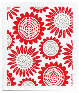 Swedish Dishcloth Sunflower Red Contemporary Dish