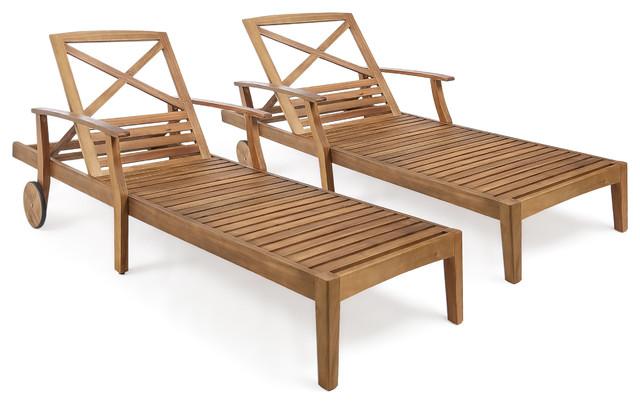 Thalia Outdoor Teak Finished Acacia Wood Chaise Lounge, Set Of 2.