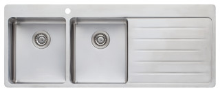 Oliveri Sonetto - Double bowl topmount sink with drainer, LH Bowl - SN1071