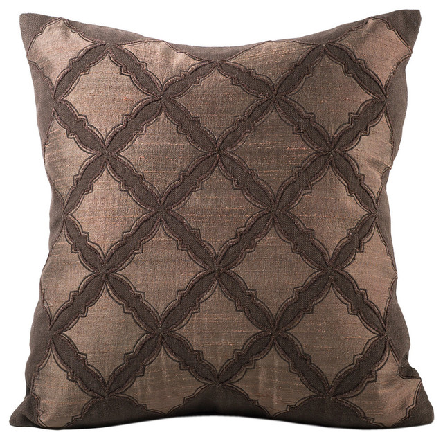 Chauran Medina Silk & Linen Applique Feather-Down Pillow - Decorative Pillows Houzz
