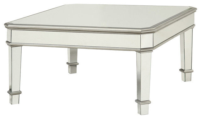 Mirrored Transitional Style Wooden Coffee Table With Beveled Edges Silver Contemporary Tables By Virventures