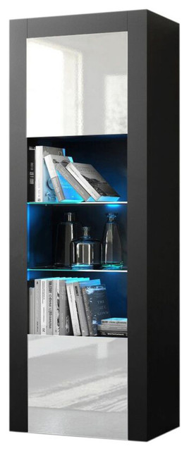 Milano Bookcase Matte Body and High Gloss Fronts, Black/White