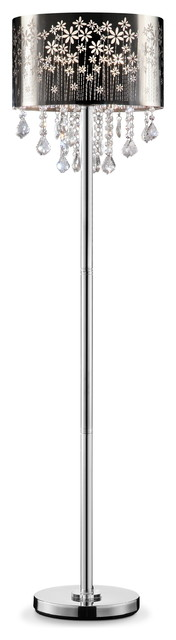 """61.5"""" Tall Floor Lamp """"floral Blooms"""", Silver And Crystal Accents, Black Shade"""