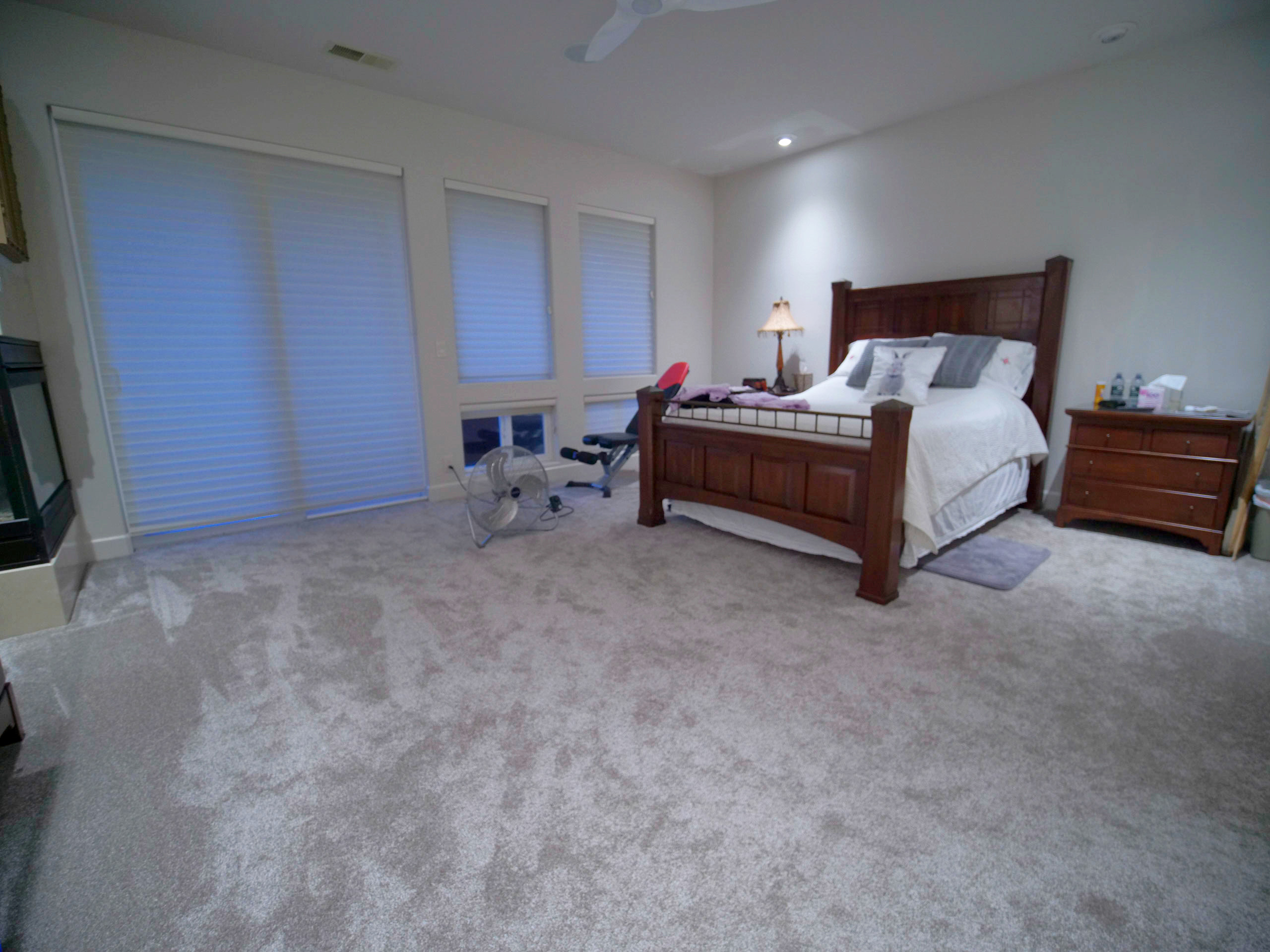 Modern Master Bedroom with Grey Carpet