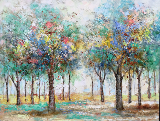 Colorful Trees I Hand Painted Oil Canvas Artwork Modern Art Fine Art